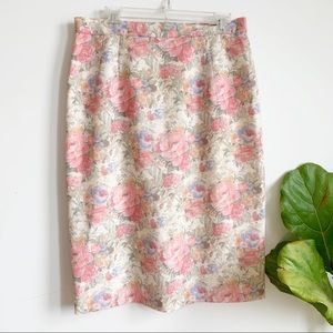 Vintage Floral Print Romantic Pink Pencil Skirt 10